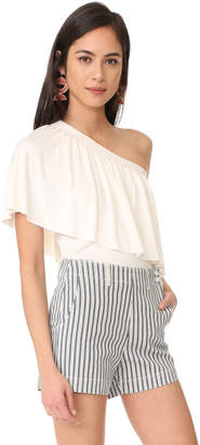 Three Dots Ruffle One Shoulder Top $88 thestylecure.com