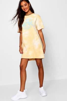 boohoo ACDC Tie Dye T-Shirt Dress