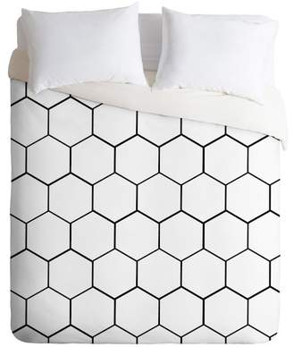 Deny Designs Black/White Allyson Johnson Honeycomb Queen 3-Piece Duvet Cover Set