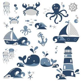 RoomMates Roommates Nautical Sea Friends Peel and Stick Wall Decals