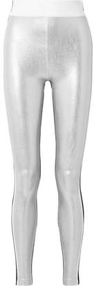 NO KA 'OI NO KA'OI Kalia Paneled Striped Metallic Stretch Leggings - Silver