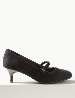 Marks and Spencer Wide Fit Suede Kitten Heel Court Shoes