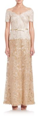 Tadashi Shoji Off-The-Shoulder A-Line Belted Lace Gown $548 thestylecure.com