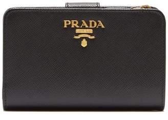 Prada Zip Around Saffiano Leather Wallet - Womens - Black
