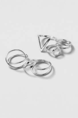 **silver Mega Geo Ring Pack