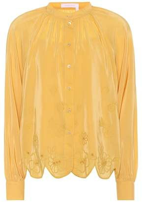 See by Chloe Embroidered silk-blend blouse