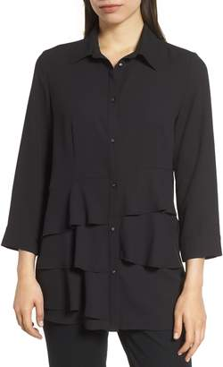 Ming Wang Ruffle Tiered Blouse