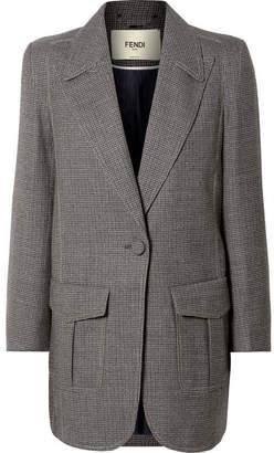 Fendi Oversized Checked Wool-blend Jacket - Gray
