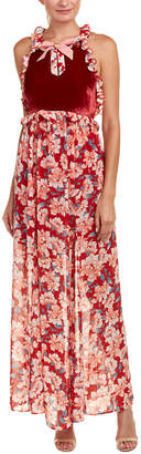 For Love & Lemons Blossom Silk-Blend Maxi Dress