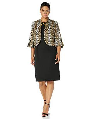 Maya Brooke Women's Plus Size Animal Print Embellished Neck Jacket Dress