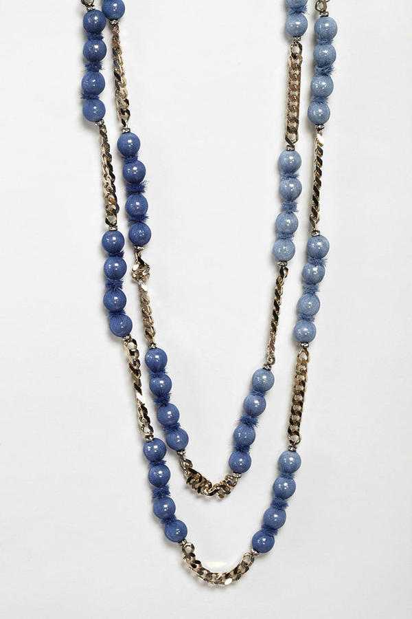 Marie-Laure Chamorel Blue Layering Covered Bead and Chain Necklace