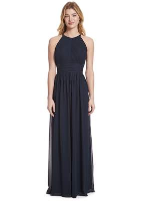 Paige Samantha Shirred Front Keyhole Back, Halter Neckline Chiffon Dress