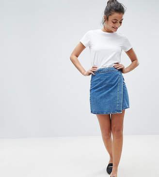 Asos Tall DESIGN Tall denim wrap skirt in stonewash blue