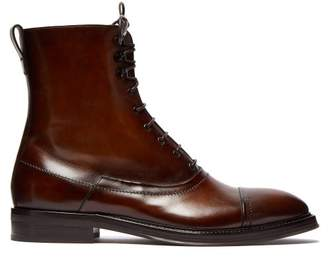 Berluti - Burnished Leather Lace Up Boots - Mens - Brown Multi
