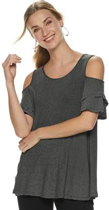 Elle Women's Ruffle Cold Shoulder Top