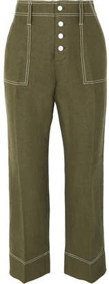 J.Crew Foundry Cropped Linen Flared Pants - Green