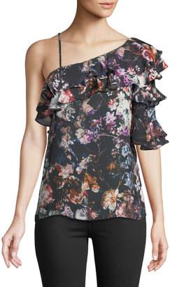 Parker One-Shoulder Floral Ruffle Blouse