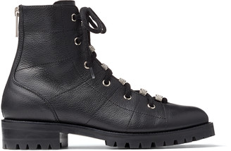 Jimmy Choo BREN FLAT Black Grained Leather Lace-Up Biker Boots with Crystal Embellishment