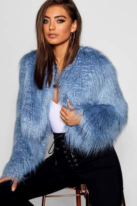 boohoo Crop Mongolian Faux Fur Coat