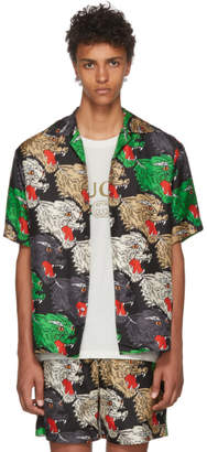 Gucci Multicolor Silk Panther Face Shirt