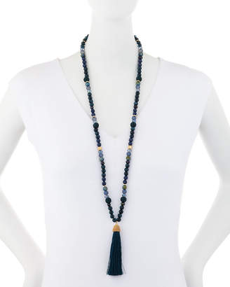 Lydell NYC Mixed Bead & Tassel Pendant Necklace
