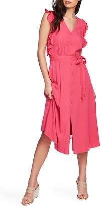 1 STATE 1.STATE Ruffle Tie Waist Midi Dress