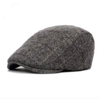 26a2419284125 HYID Autumn Thick Warm Beret for Stripe British Style Winter hat Wool Male  Flat Cap Male