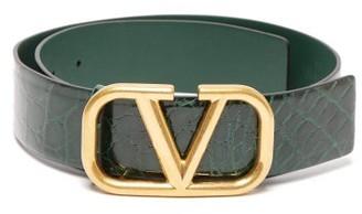 Valentino Oversized V Logo Alligator Belt - Womens - Green