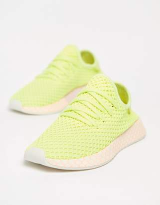 adidas Deerupt Trainers In Yellow And Lilac
