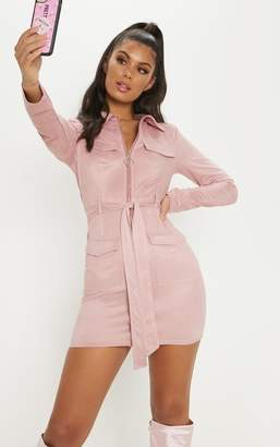 PrettyLittleThing Rose Pink Faux Suede Pocket Detail Bodycon Dress