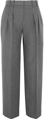 Victoria Beckham Victoria, Pleated Wool-twill Straight-leg Pants - Gray
