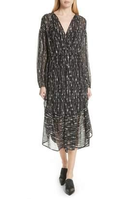 Vince Brushstroke Silk Chiffon Dress