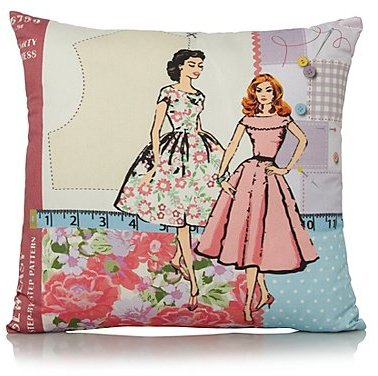 George Home Sewing Lady Cushion - 43x43cm