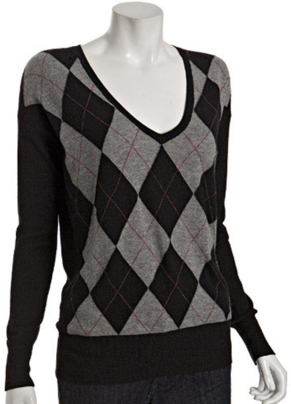 Hayden black cashmere argyle boyfriend sweater