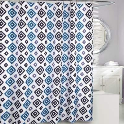 Moda at Home Ikat Diamond Fabric Shower Curtain in Blue