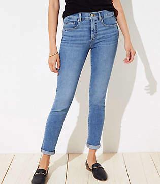 LOFT Curvy Soft Slim Pocket Skinny Crop Jeans in Pure Mid Indigo Wash