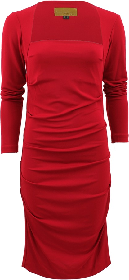 Nicole Miller Long Sleeve Ruch Jersey Cocktail Dress