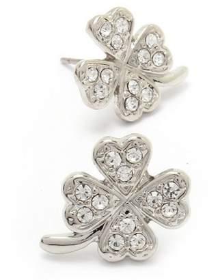 Fresh Bejeweled Silver Shamrock/4-Leaf Clover Post Earrings [St. Patrick's Day]