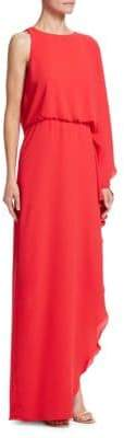 Halston One-Sleeve Blouson Gown