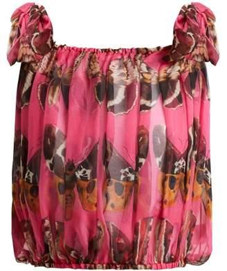 Dolce & Gabbana Butterfly Print Silk Chiffon Tie Shoulder Top - Womens - Pink Print