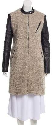 Yigal Azrouel Leather-Accented Wool Coat