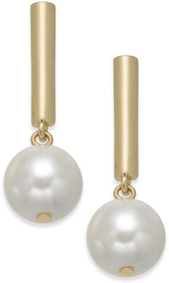 Alfani Gold-Tone Bar & Imitation Pearl Drop Earrings