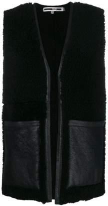 McQ leather pocket fur long vest