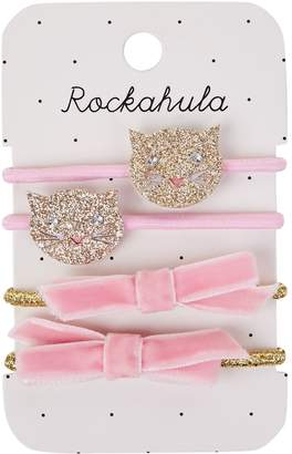 Rockahula Glitter Cat and Bow Hair Ties (Pack of 4)