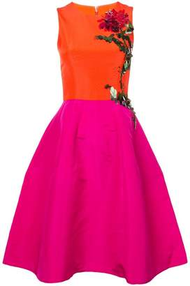 Carolina Herrera flower embellished flared dress