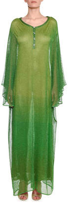 Missoni Button-Placket Metallic-Mesh Overlay Caftan