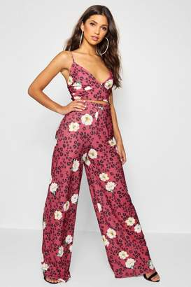 boohoo Leopard Floral Bralet & Trouser Co-ord