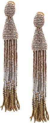 Oscar de la Renta long ombre beaded clip on earrings