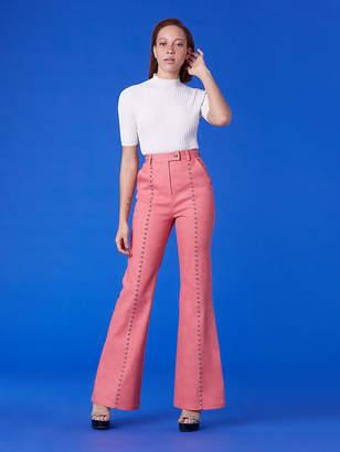 Diane von Furstenberg Studded Seam Flare Pants