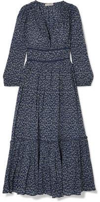 Ulla Johnson Malena Floral-print Cotton-crepon Midi Dress - Midnight blue